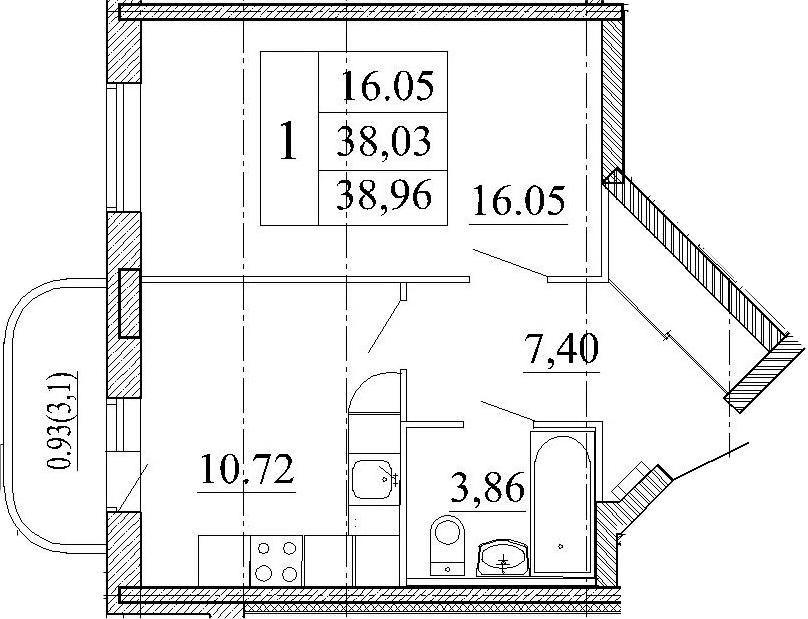 1-к.кв, 41.13 м²