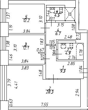 3Е-к.кв, 77.8 м², 8 этаж