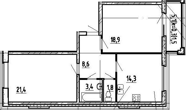 2-комнатная, 69.9 м²– 2