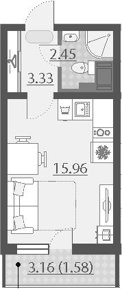 Студия, 23.32 м²