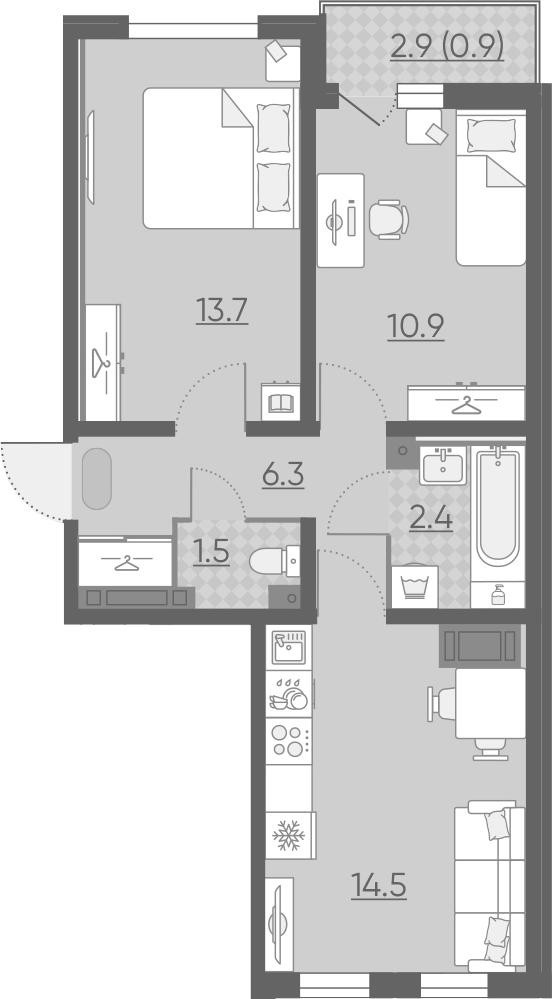 3Е-к.кв, 50.2 м², 19 этаж
