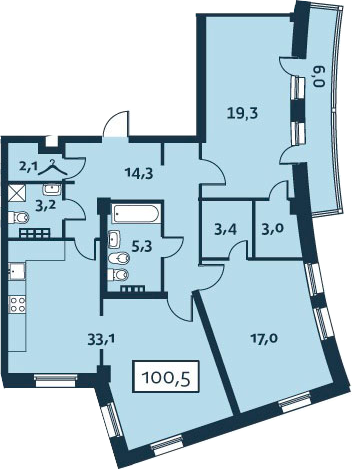 3Е-к.кв, 100.51 м²
