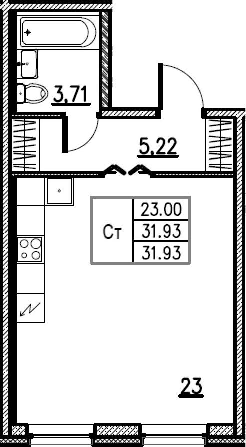 Студия, 31.93 м²– 2