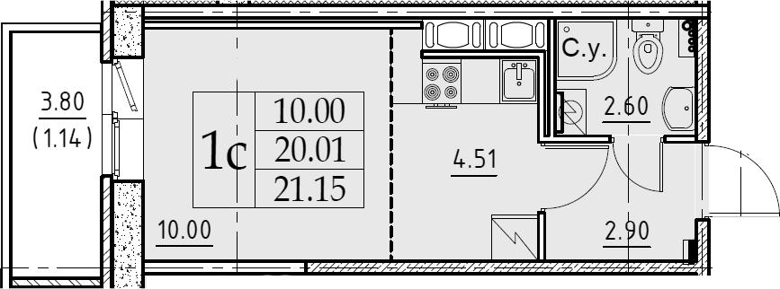 Студия, 21.15 м², 7 этаж