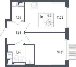 1-к.кв, 30.51 м²