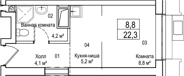 Студия, 22.3 м²