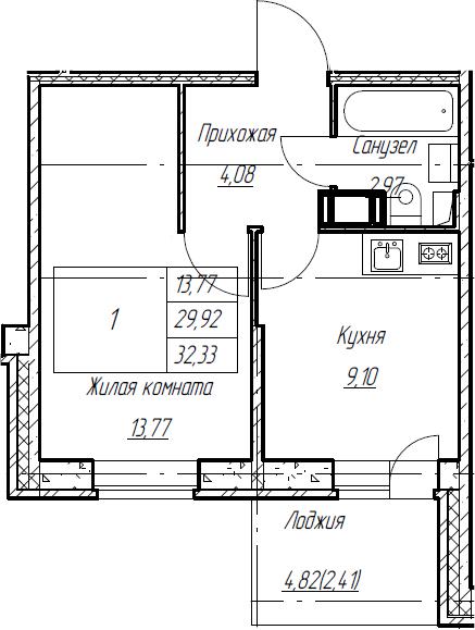 1-к.кв, 32.33 м², от 4 этажа