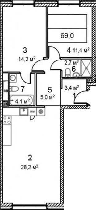 3Е-комнатная, 69 м²– 2