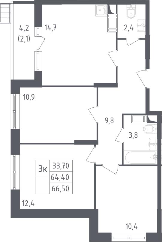 3-к.кв, 66.5 м²