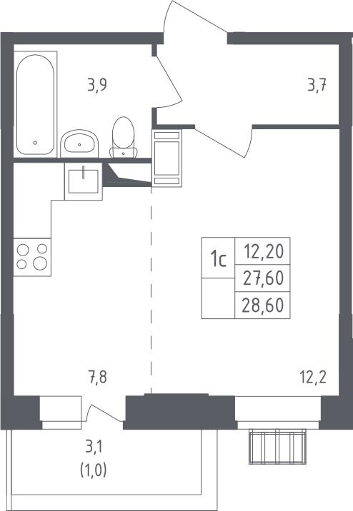 Студия, 30.93 м²