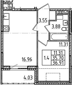 2Е-комнатная, 36.91 м²– 2