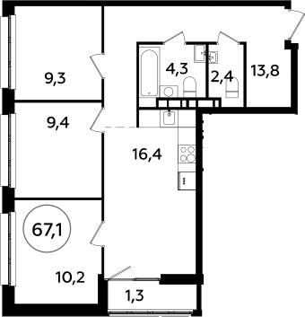 4Е-к.кв, 67.1 м², 13 этаж