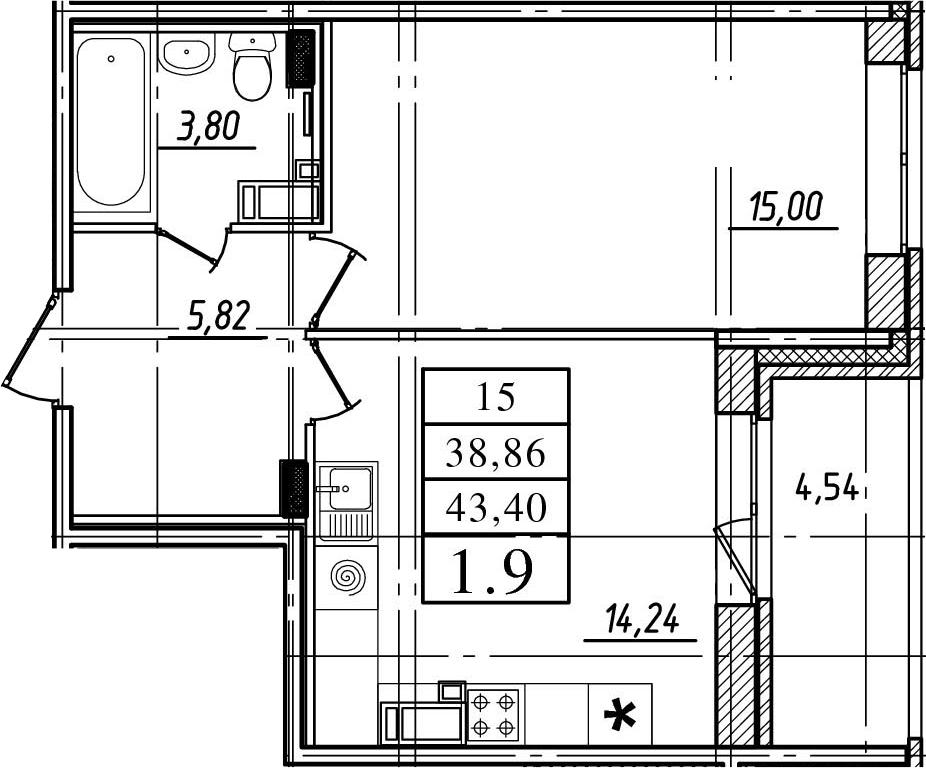 1-к.кв, 38.86 м²
