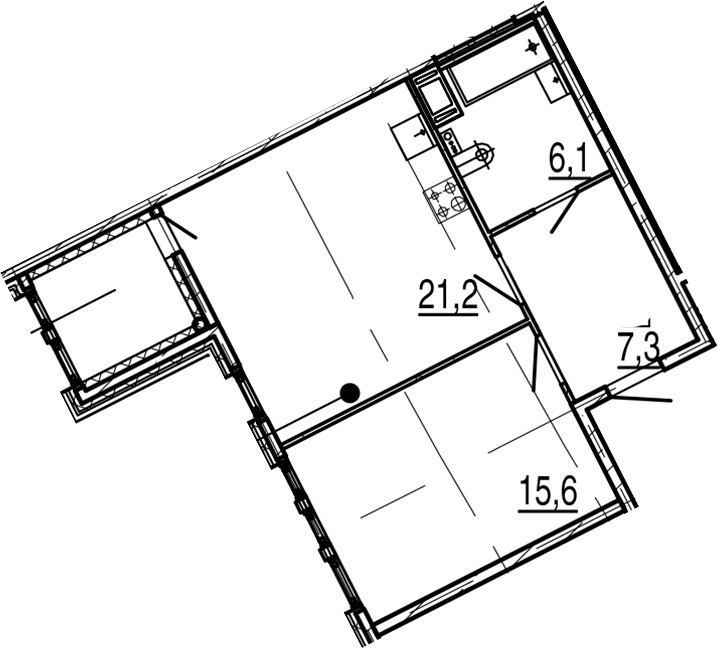 2Е-к.кв, 52.3 м²