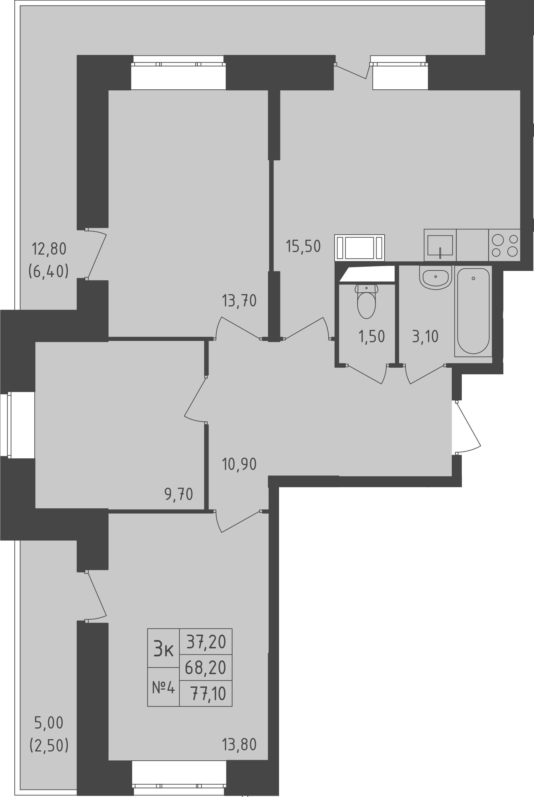 3-к.кв, 77.1 м²