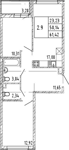 3Е-комнатная, 58.14 м²– 2