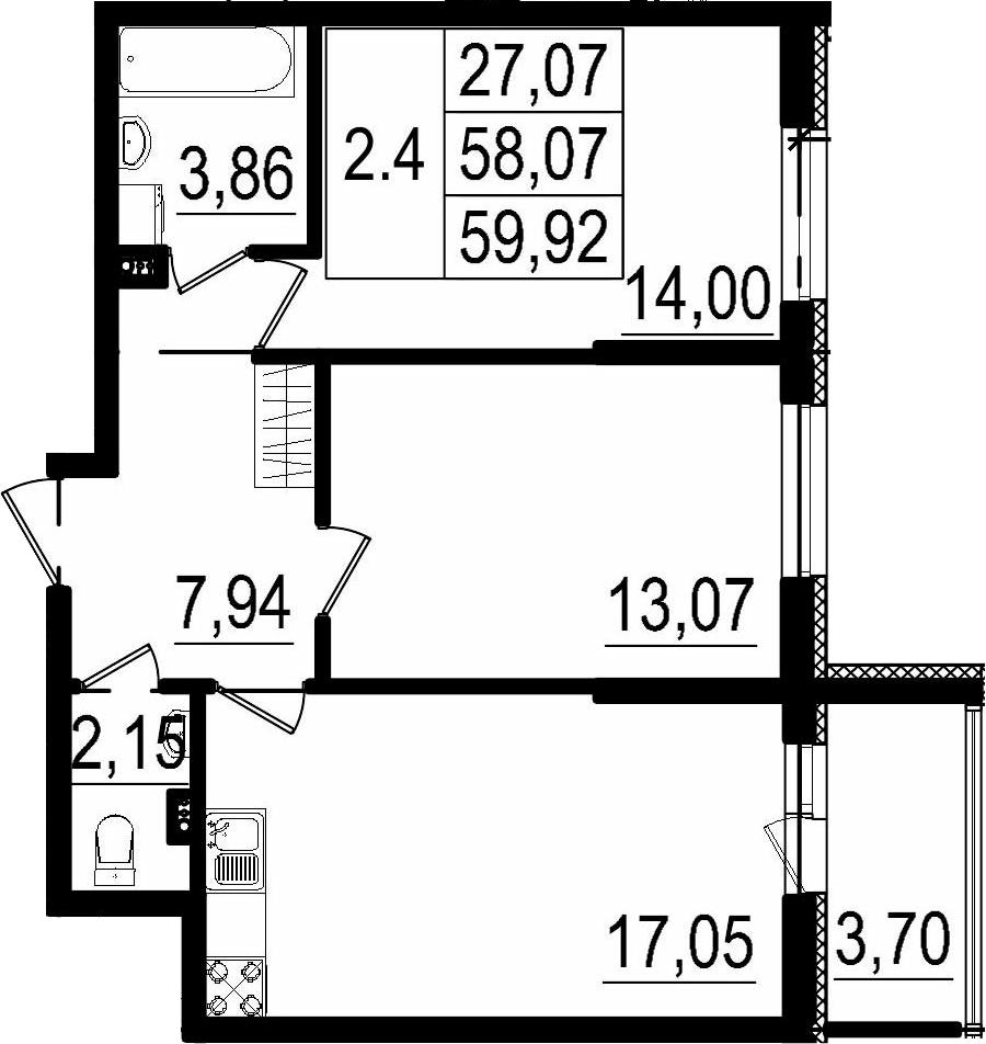3Е-комнатная, 58.07 м²– 2
