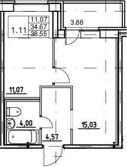 2-к.кв (евро), 38.55 м²