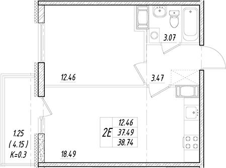 2Е-к.кв, 37.49 м²