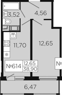 1-к.кв, 42.13 м²