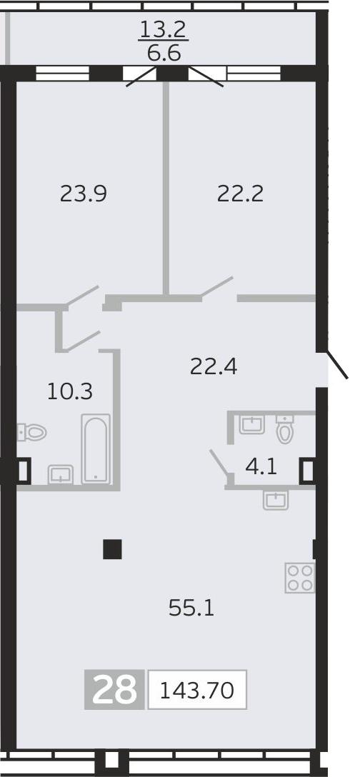 3Е-к.кв, 143.7 м², 8 этаж