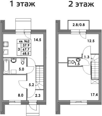 Таунхаусы, 70.37 м²