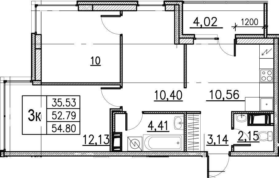 3-комнатная, 54.8 м²– 2