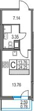 Студия, 24.25 м², от 12 этажа