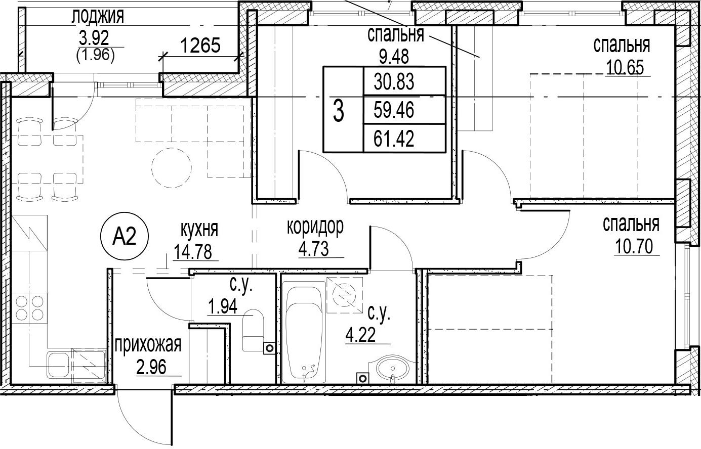 3-комнатная, 61.42 м²– 2