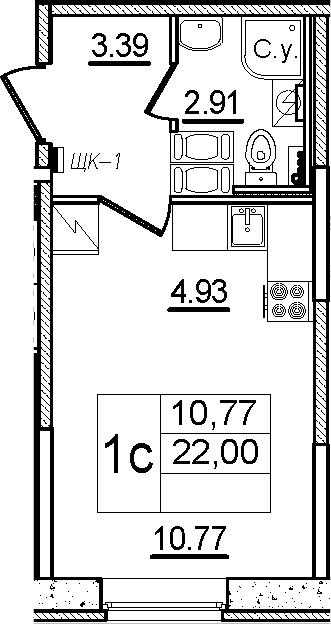 Студия, 22 м²