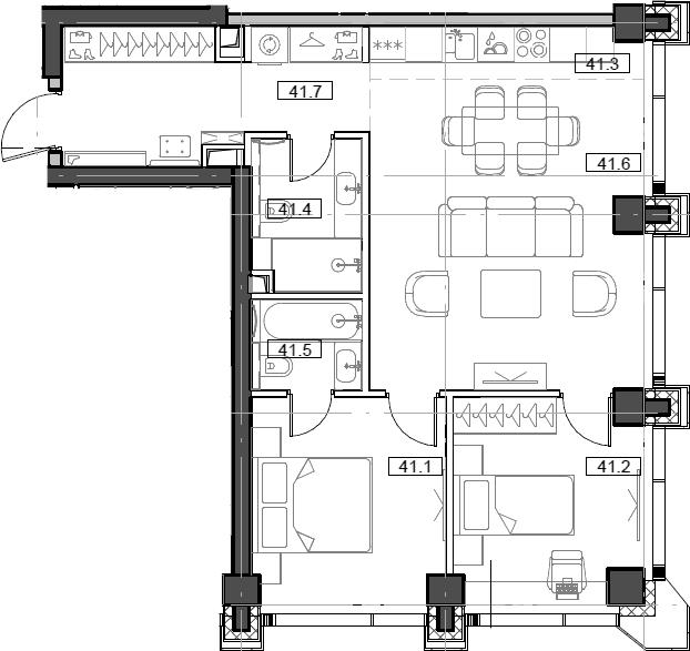 3Е-комнатная, 65.82 м²– 2