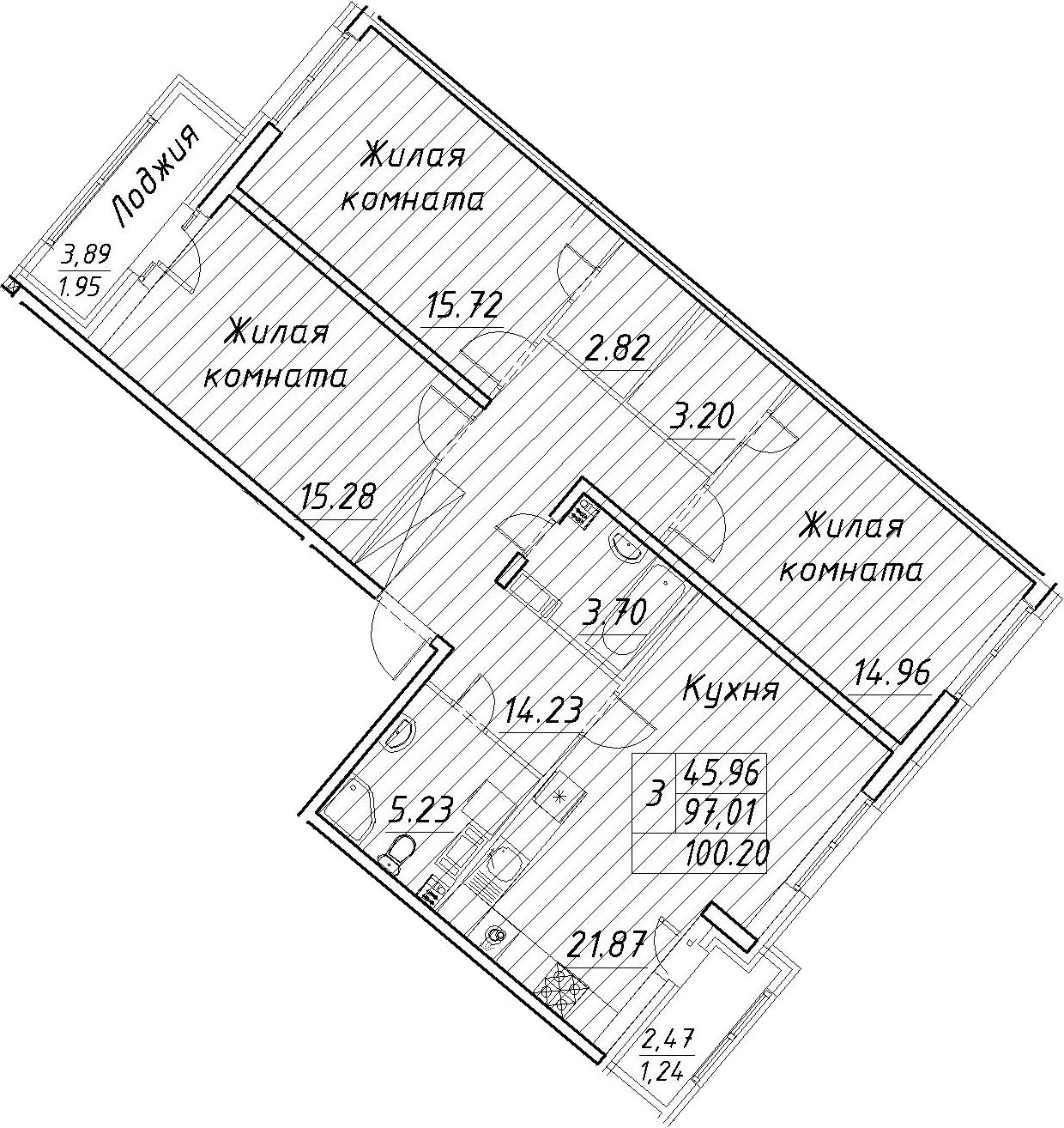 4Е-к.кв, 100.2 м², 12 этаж