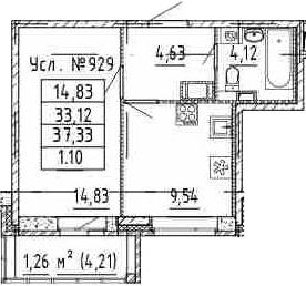 1-к.кв, 33.12 м²