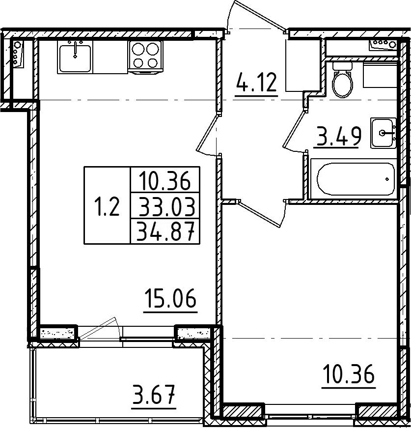 2Е-к.кв, 34.87 м²