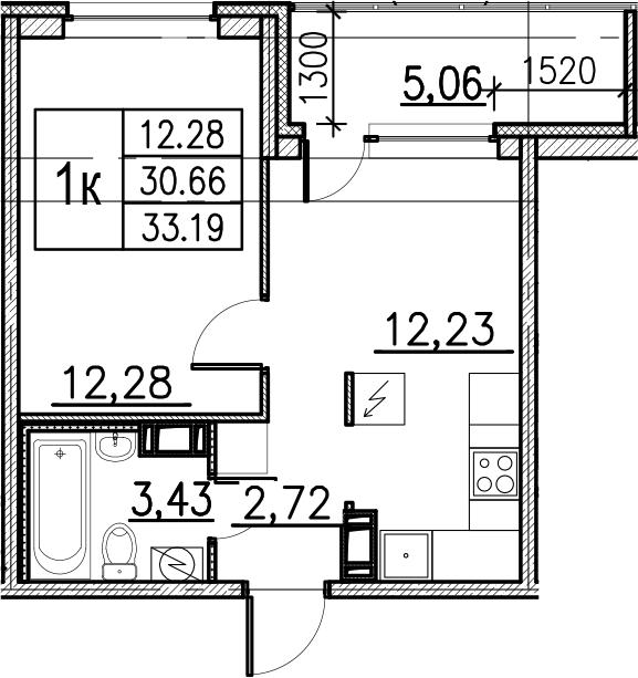 1-комнатная, 33.19 м²– 2