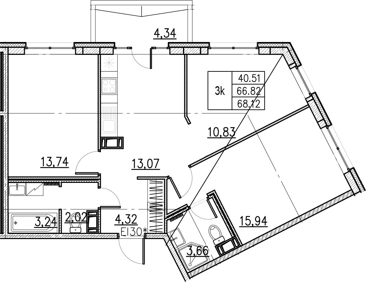 3-комнатная, 68.12 м²– 2