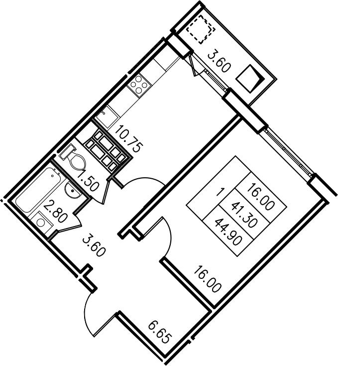 1-комнатная, 44.9 м²– 2