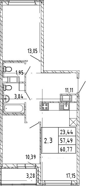 3Е-комнатная, 60.77 м²– 2