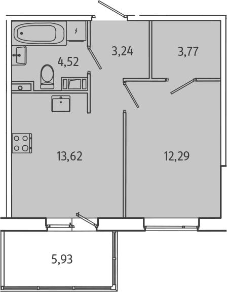 1-комнатная, 39.22 м²– 2
