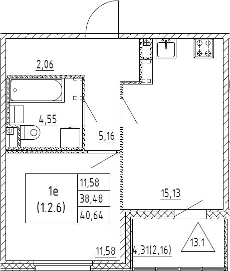 2Е-к.кв, 40.64 м², 2 этаж