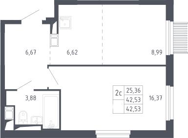 2Е-комнатная, 42.53 м²– 2