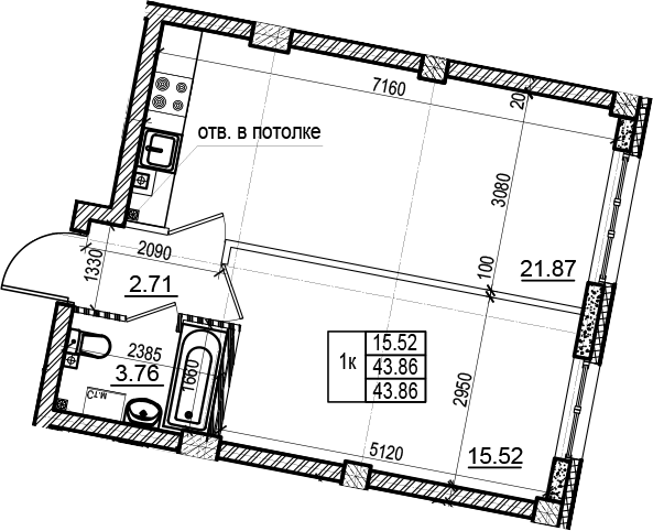 2Е-комнатная, 43.86 м²– 2