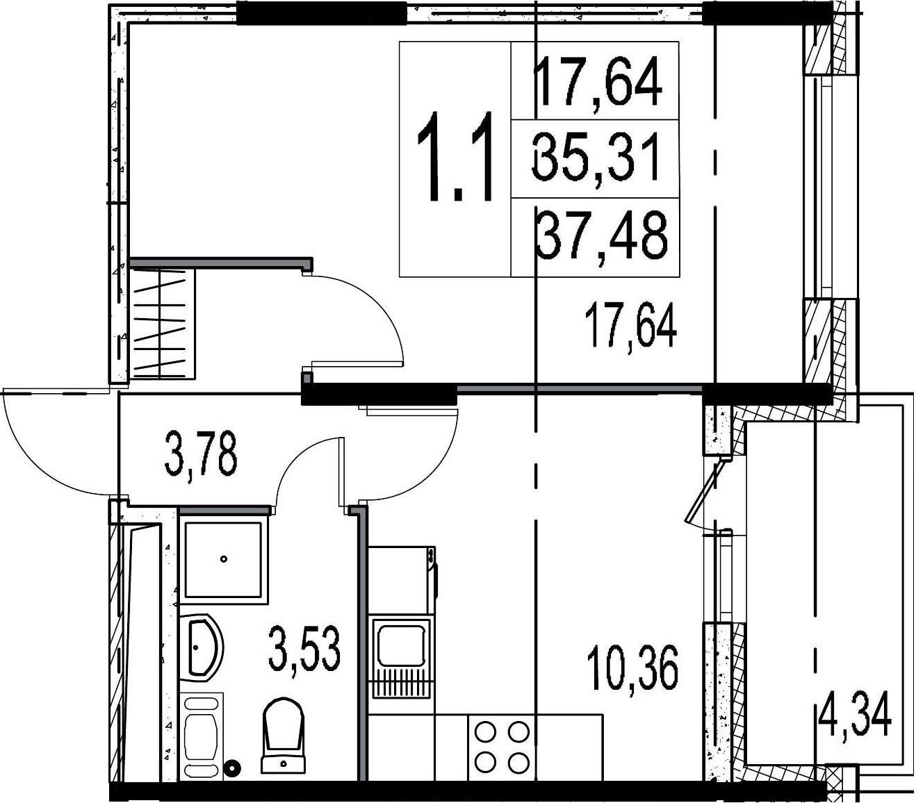 1-к.кв, 35.31 м², 7 этаж