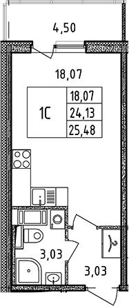 Студия, 25.48 м²