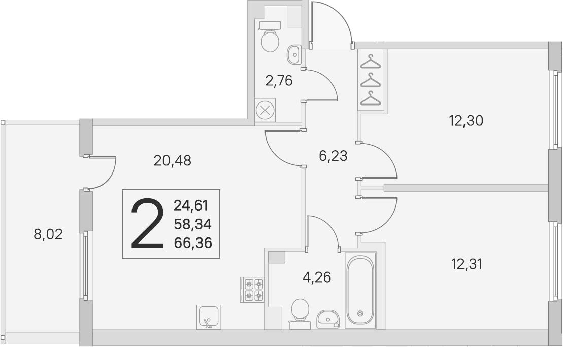 3Е-к.кв, 58.34 м², 2 этаж