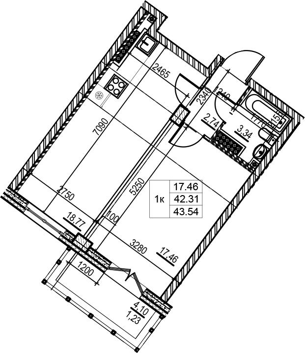 1-к.кв, 43.54 м², 8 этаж