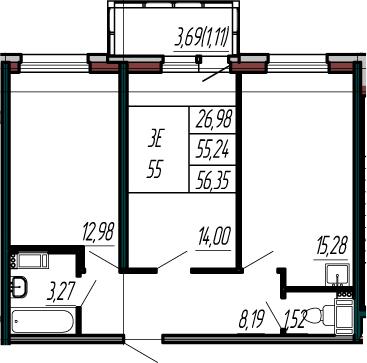 3-к.кв (евро), 58.93 м²