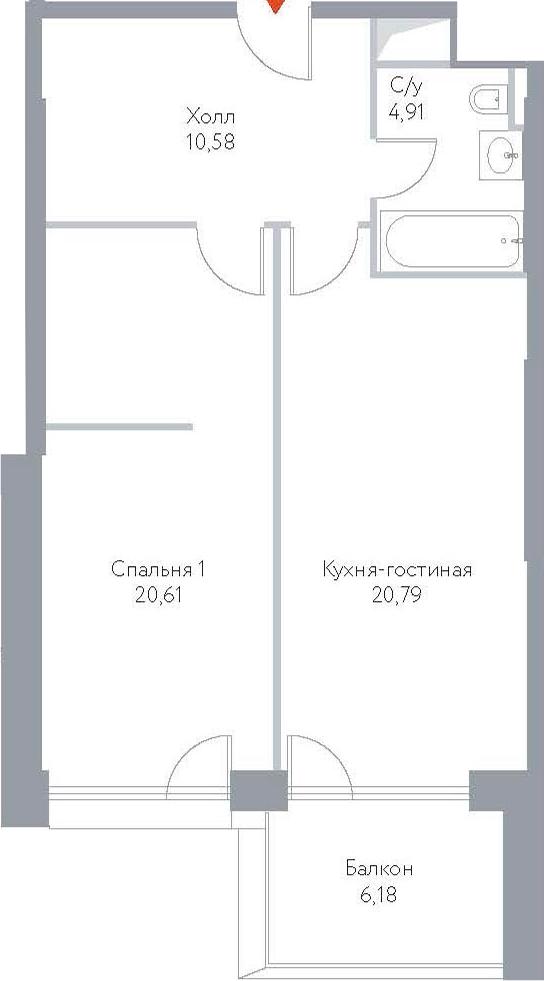 2Е-к.кв, 63.07 м², 9 этаж