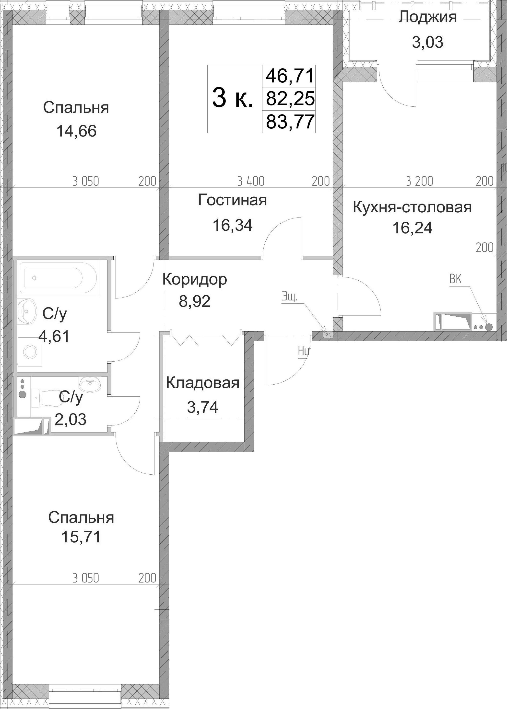 3-к.кв, 83.77 м², от 3 этажа