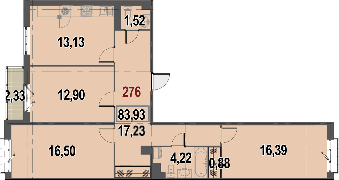 3-к.кв, 85.09 м²